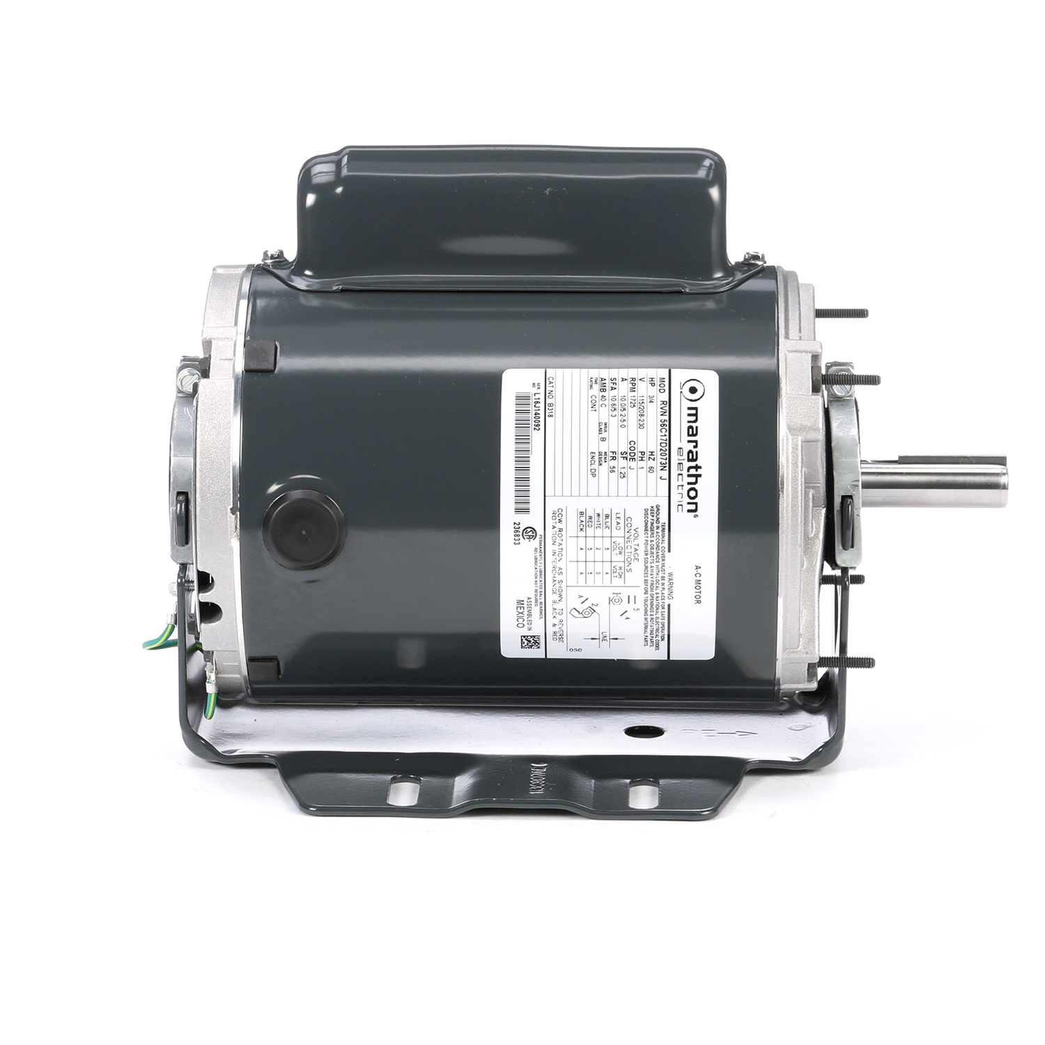 56 FR Capacitor Start Fan and Blower Motor, 3/4 HP, 1725 RPM, 115