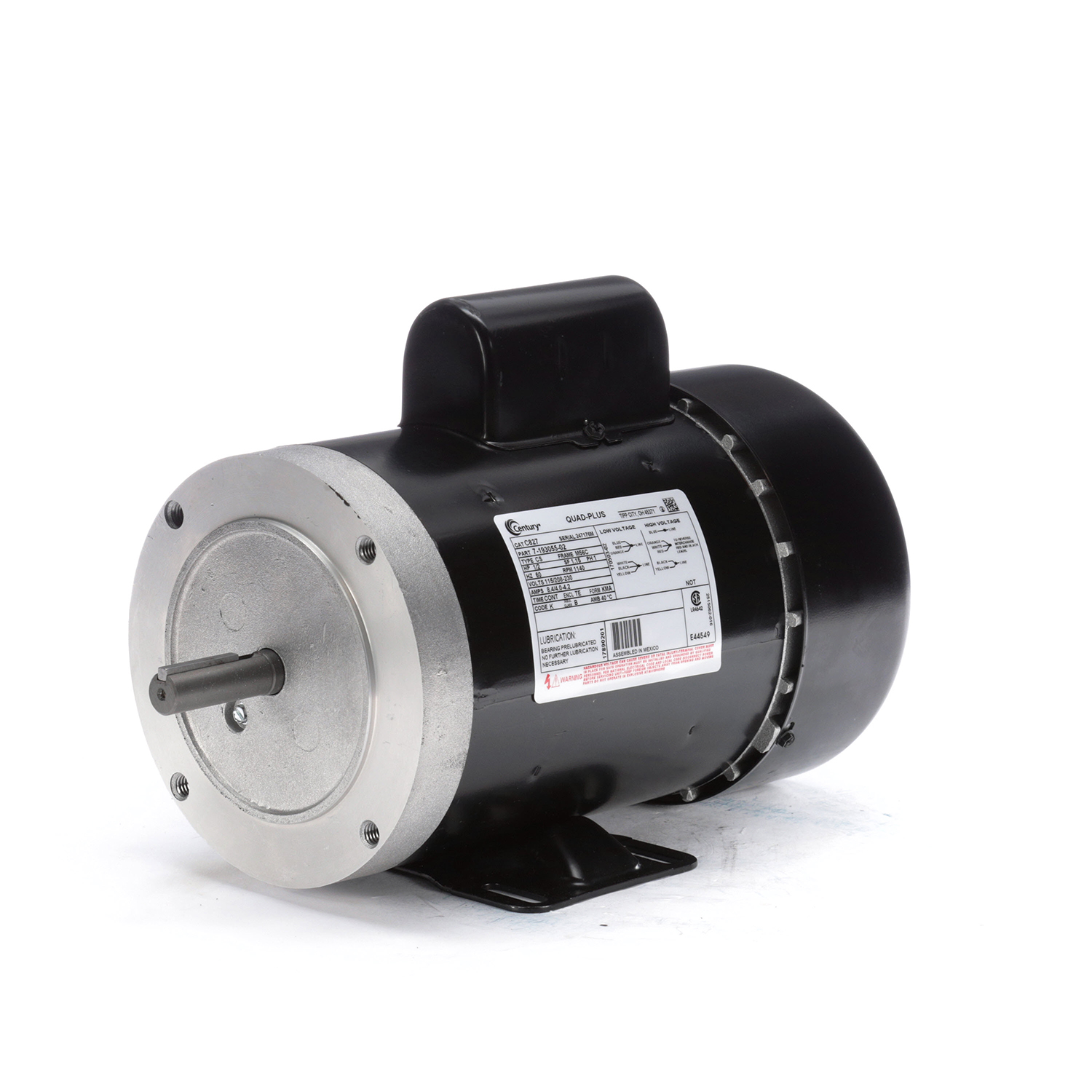 1/2 HP, 115/208-230 V, Totally Enclosed Fan Cooled (TEFC)