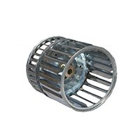 Galvanized Double Inlet Blower Wheel, 3.75 Dia., 5/16 Bore, CCW, Reznor Rep