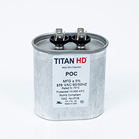 TITAN HD Run Capacitor  50 MFD 370 Volt Oval