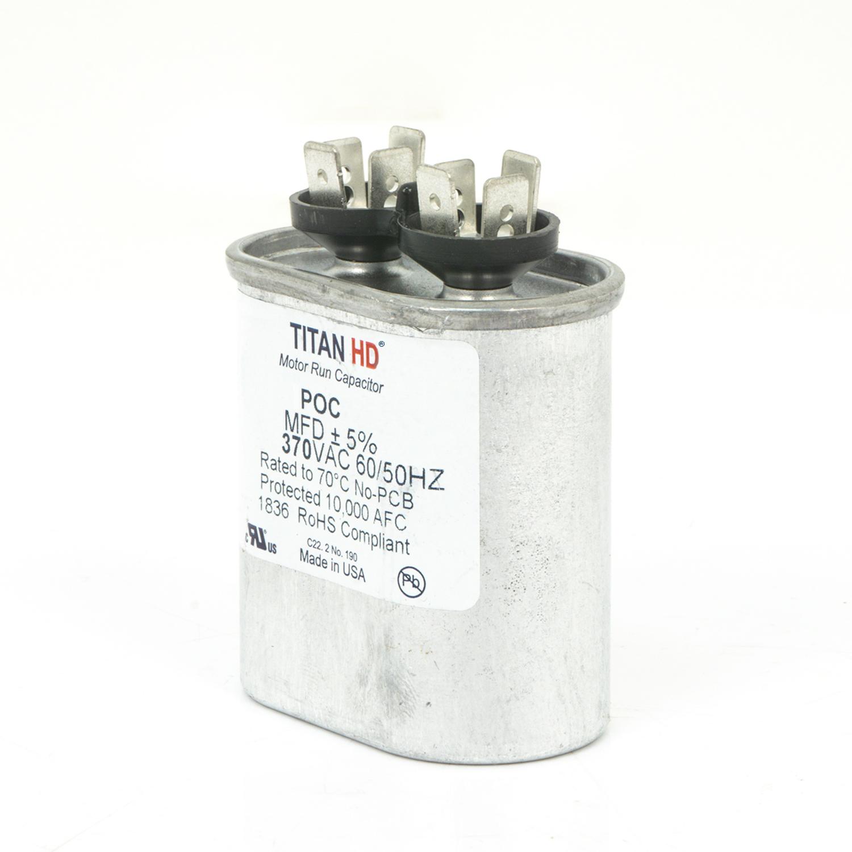 TITAN HD Run Capacitor 10 MFD 370 Volt Oval   Packard Online