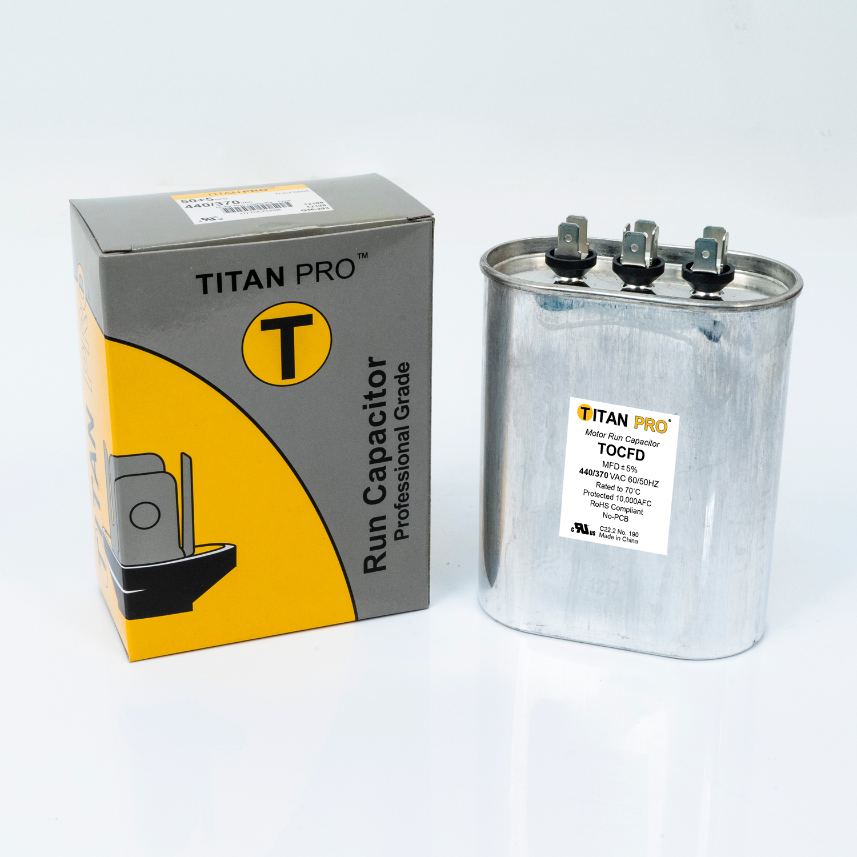 TITAN PRO Run Capacitor 50+5 MFD 440/370 Volt Oval | Packard Online